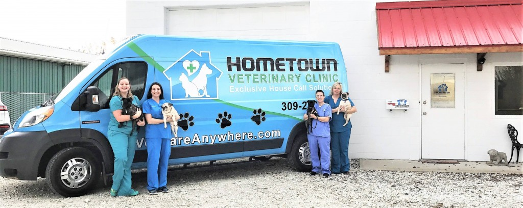 Hometown Veterinary staff and mobile van.