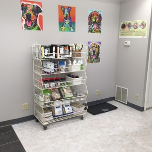 Pet supplies for purchase in Lobby